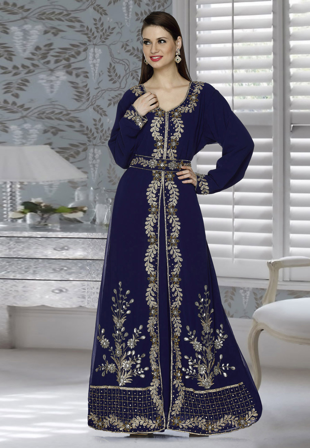 Navy Blue Faux Georgette Embroidered Readymade Kaftan 194809