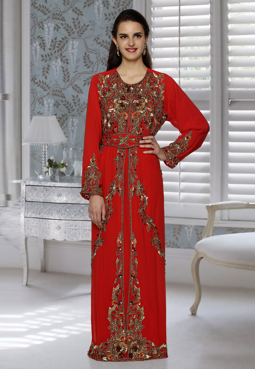 Red Faux Georgette Embroidered Readymade Kaftan 194811