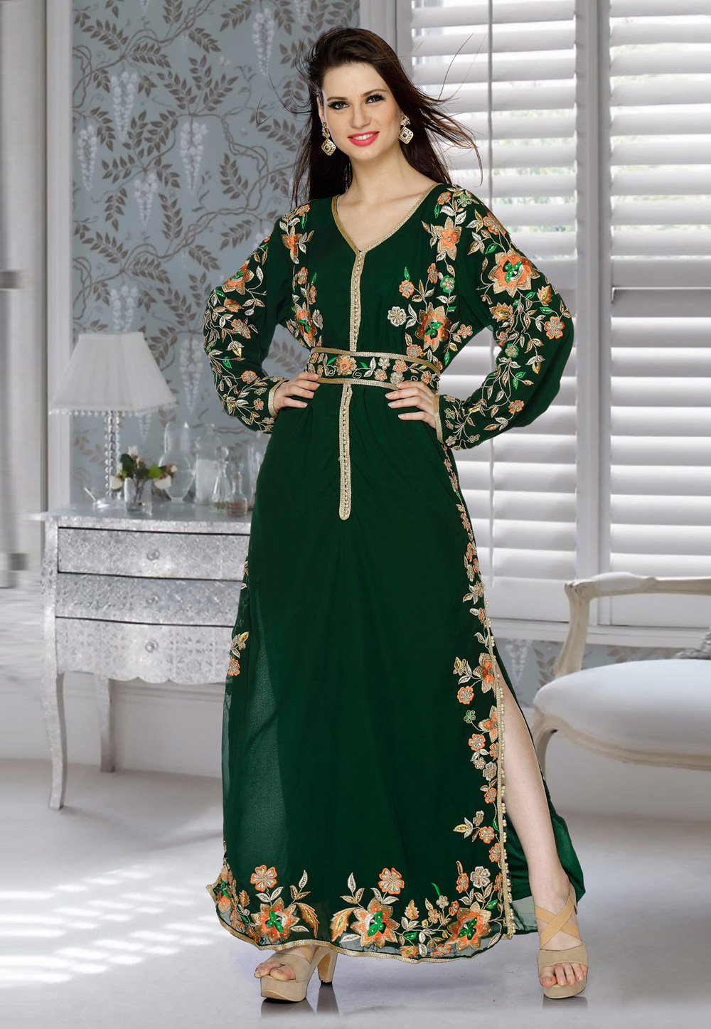 Green Faux Georgette Embroidered Readymade Kaftan 194814