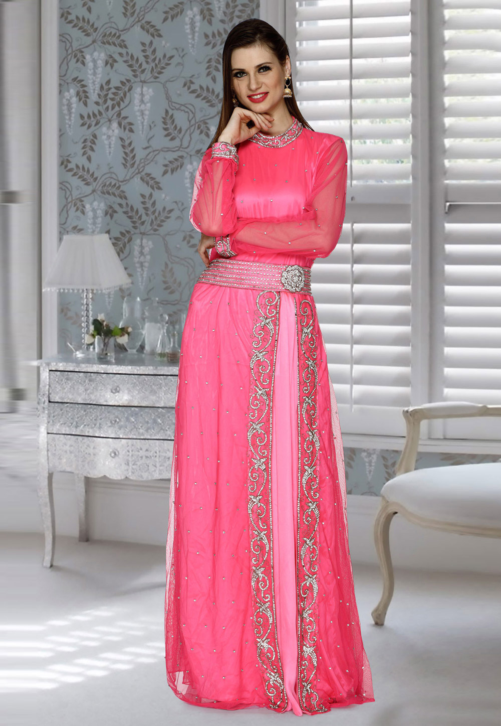 Pink Net Faux Georgette Embroidered Readymade Kaftan 194815