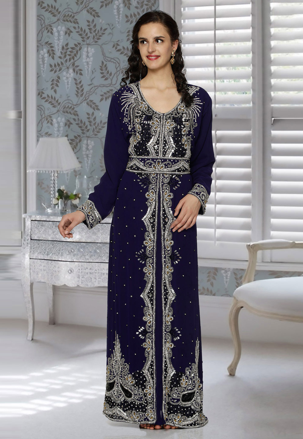 Navy Blue Faux Georgette Embroidered Readymade Kaftan 194816