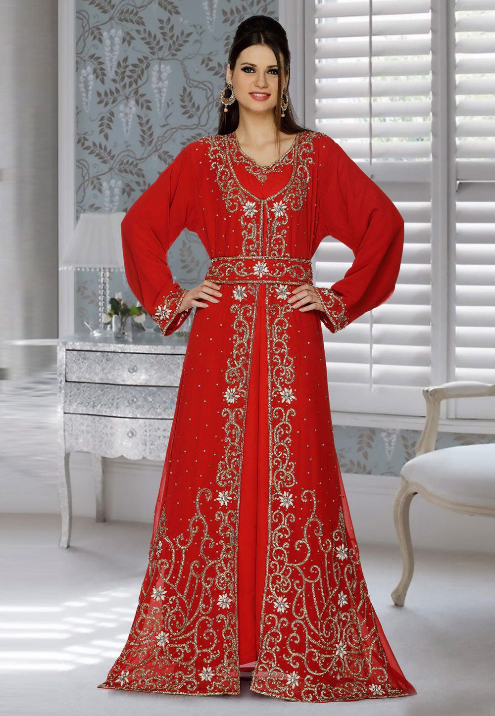 Red Faux Georgette Embroidered Readymade Kaftan 194817