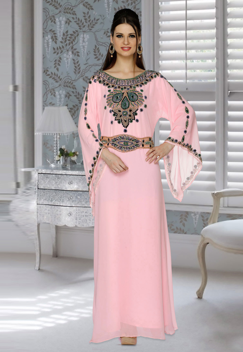 Pink Faux Georgette Embroidered Readymade Kaftan 194819
