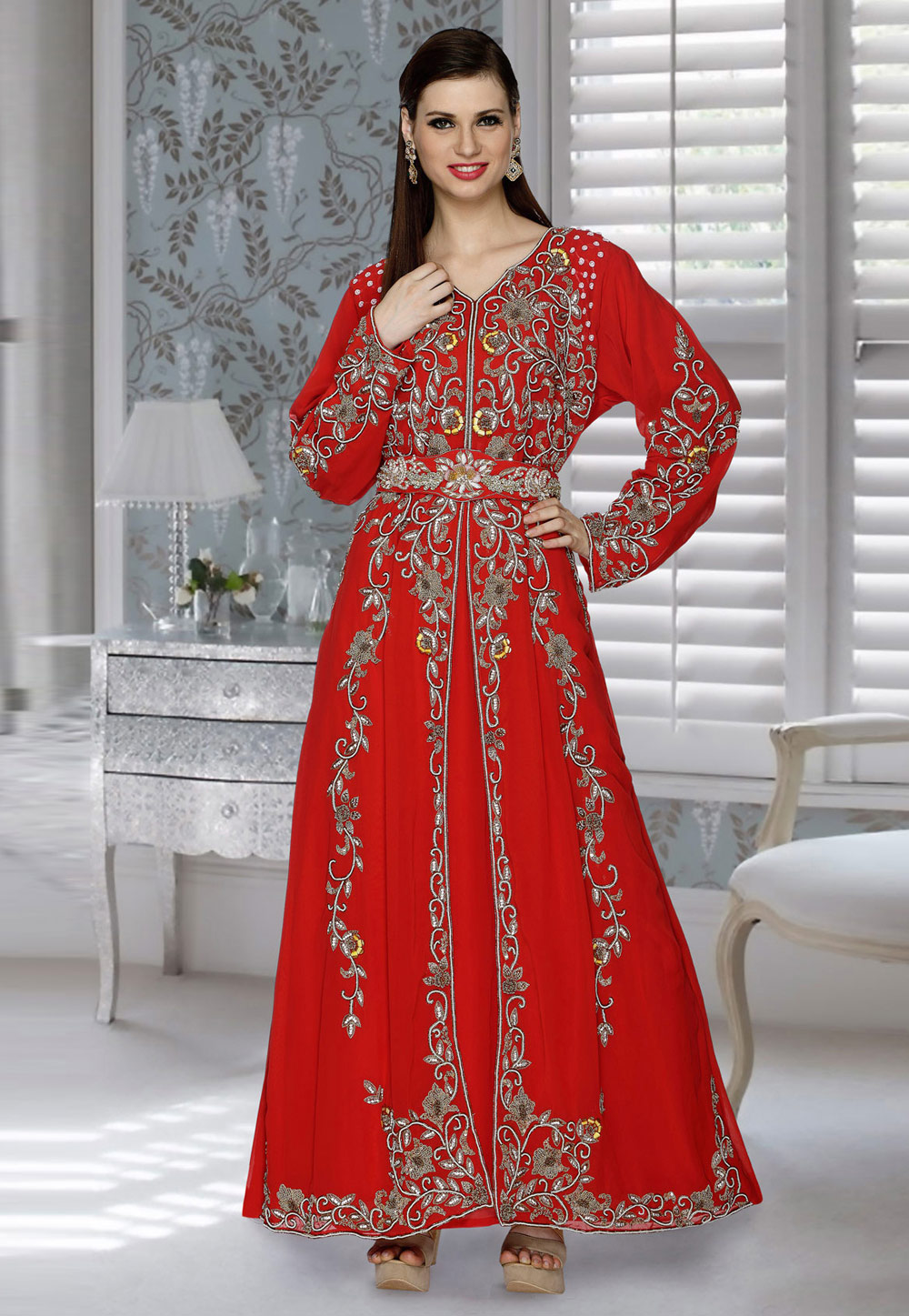 Red Faux Georgette Embroidered Readymade Kaftan 194820