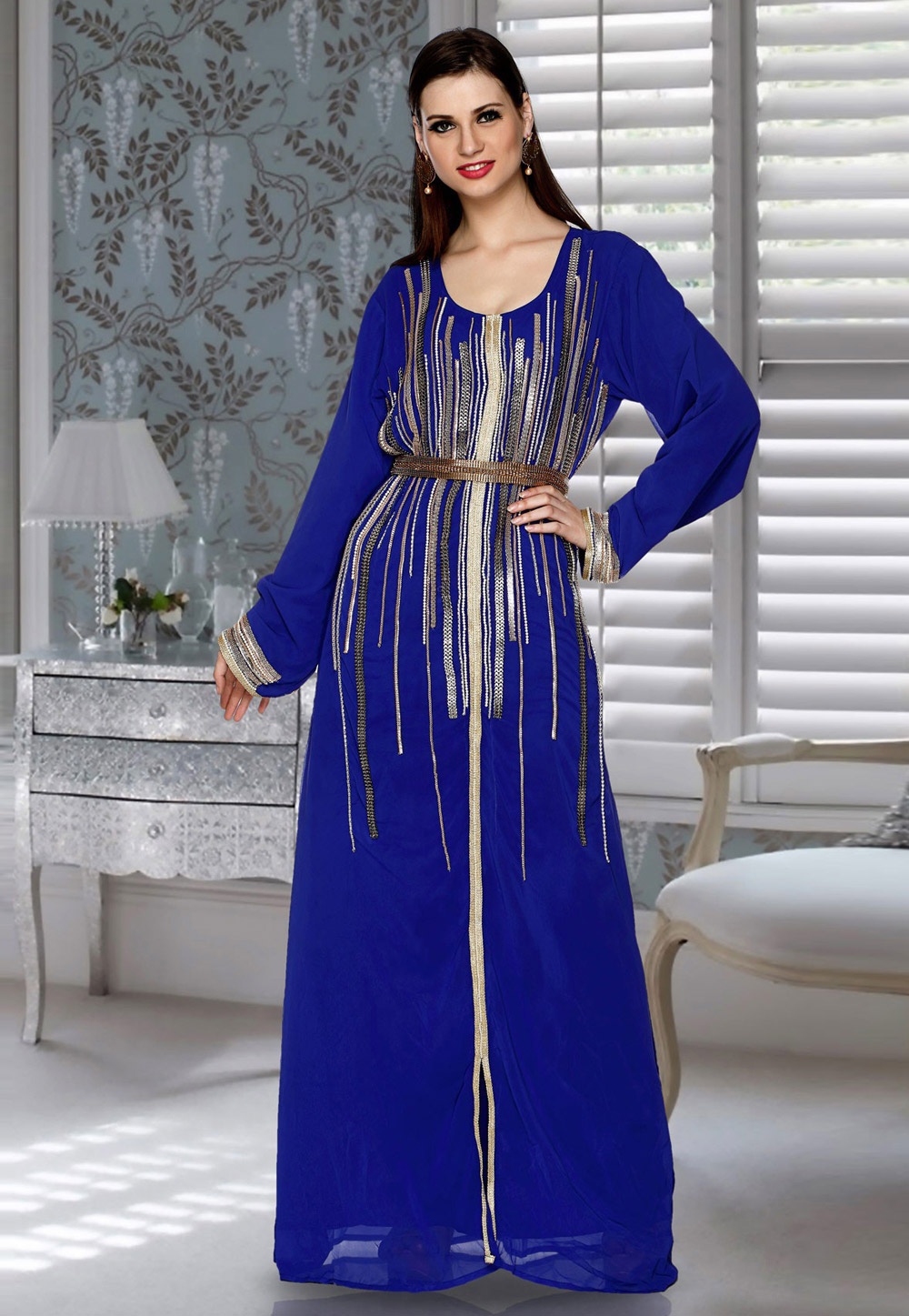 Blue Faux Georgette Embroidered Readymade Kaftan 194821