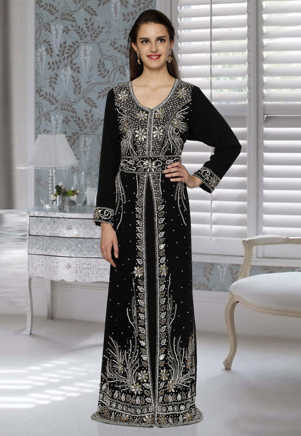 Black Faux Georgette Embroidered Readymade Kaftan 194824