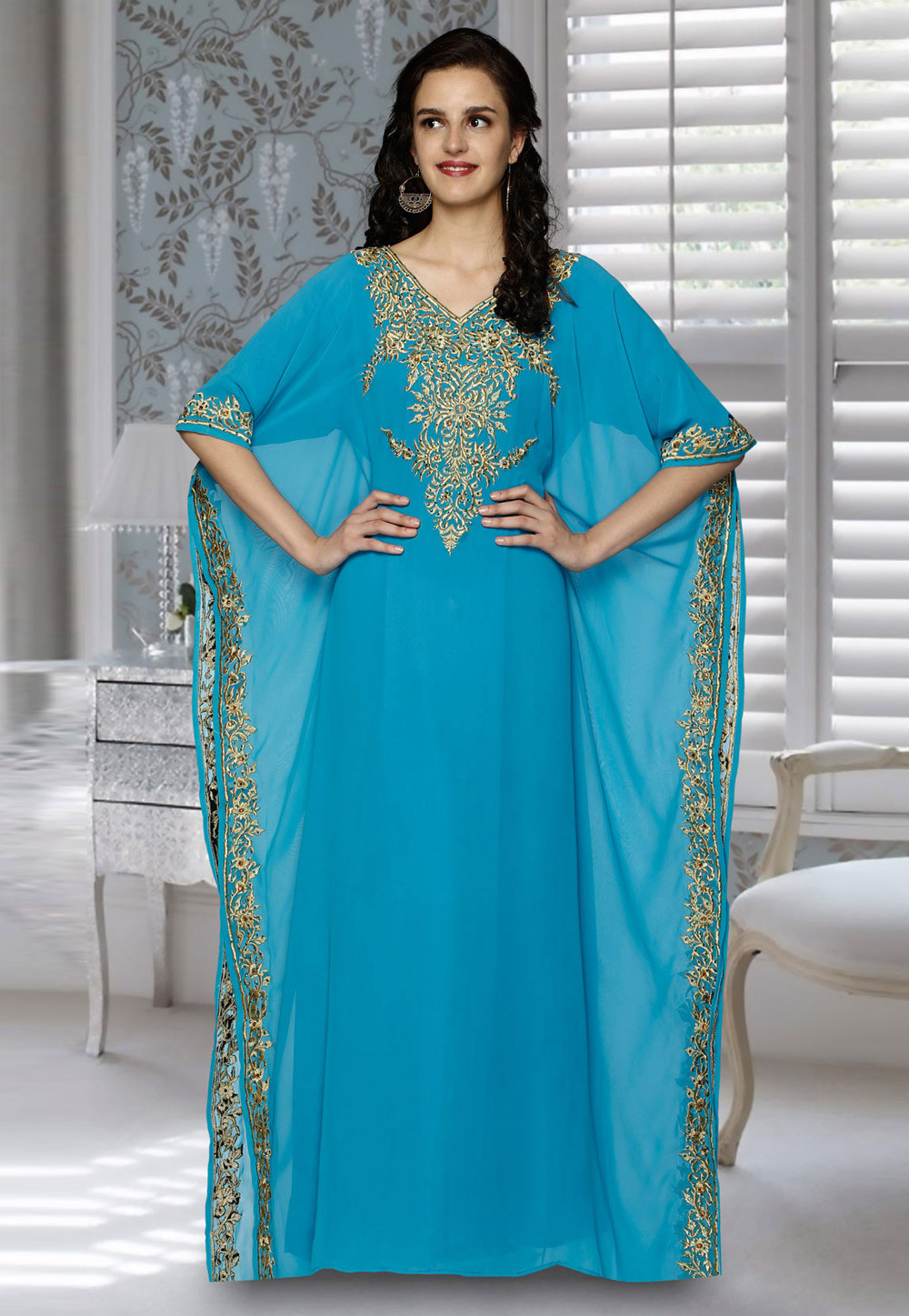 Aqua Blue Faux Georgette Embroidered Readymade Farasha 194825