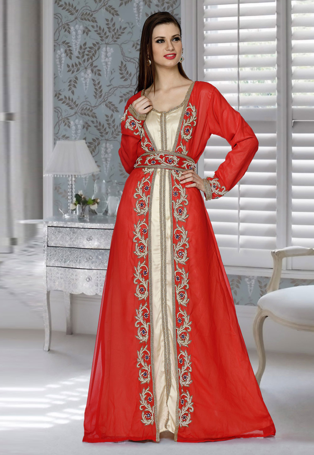 Red Faux Georgette Embroidered Readymade Kaftan 194826