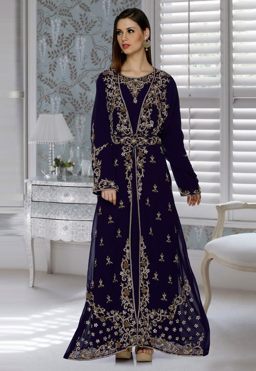 Navy Blue Faux Georgette Embroidered Readymade Kaftan 194827