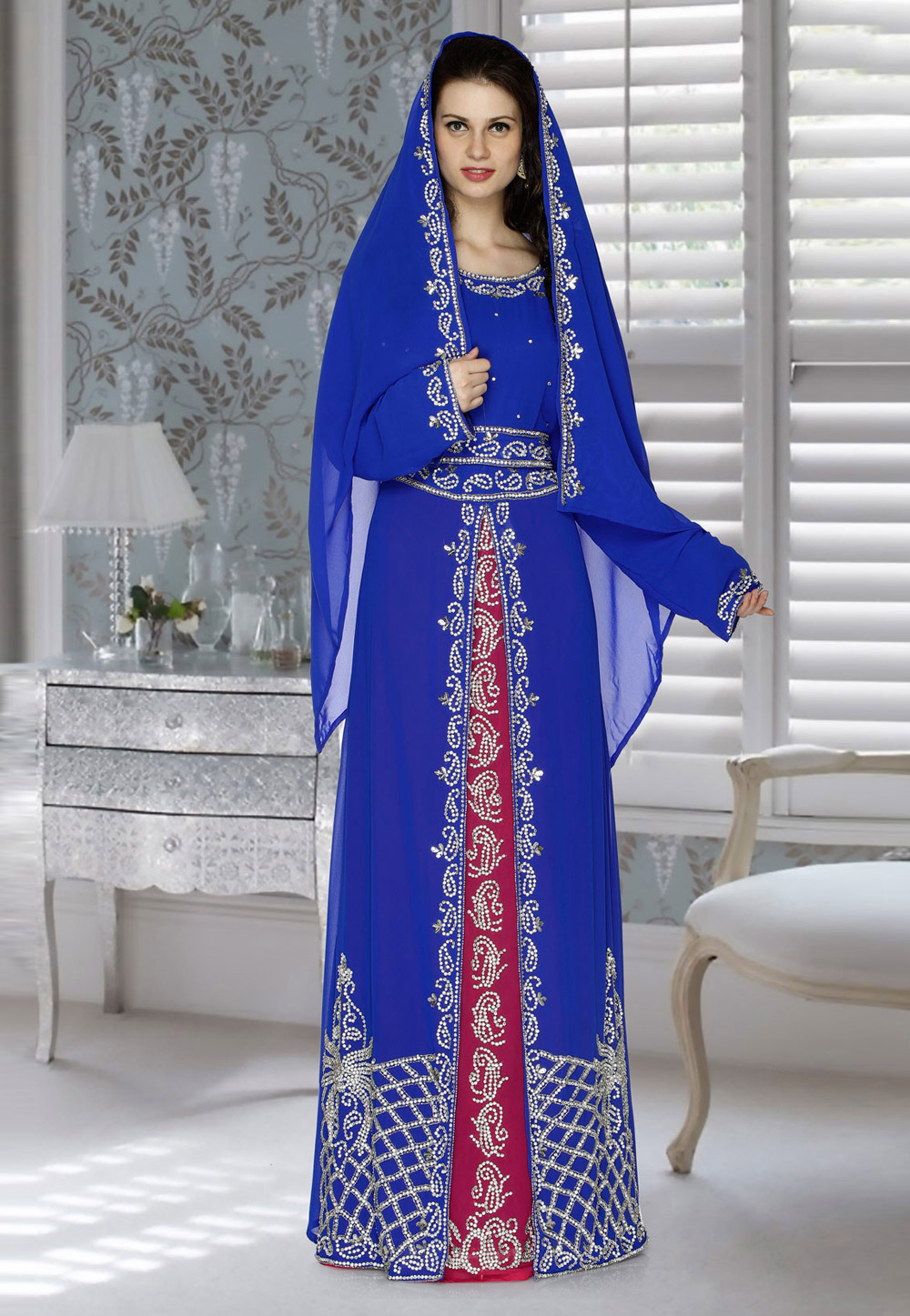 Blue Faux Georgette Embroidered Readymade Kaftan 194828