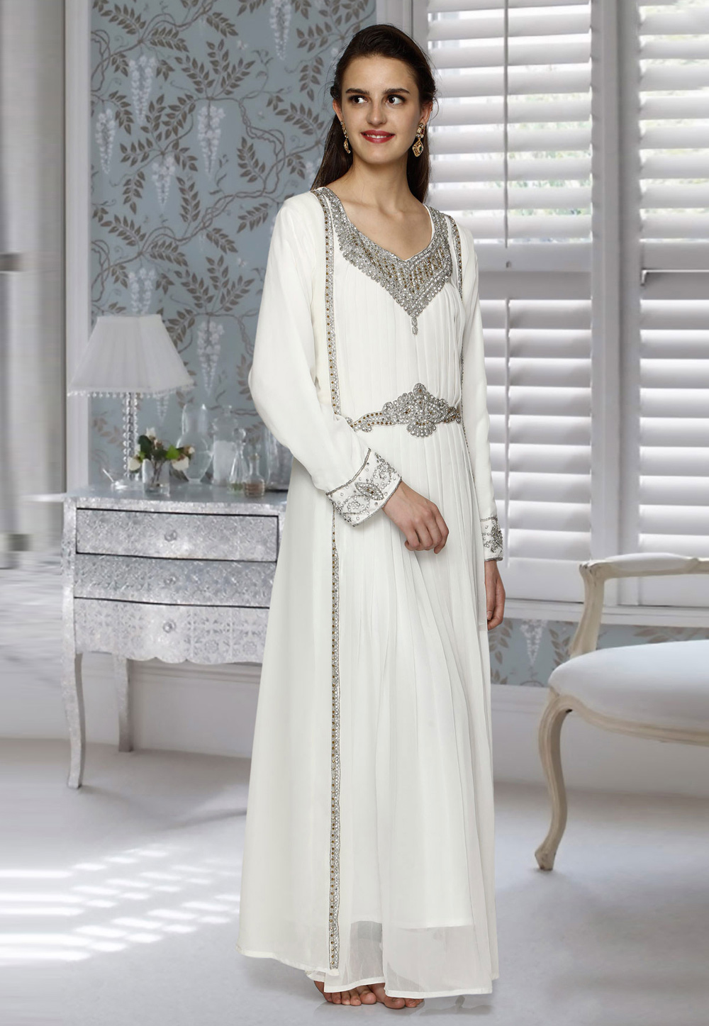 Off White Faux Georgette Embroidered Readymade Kaftan 194885