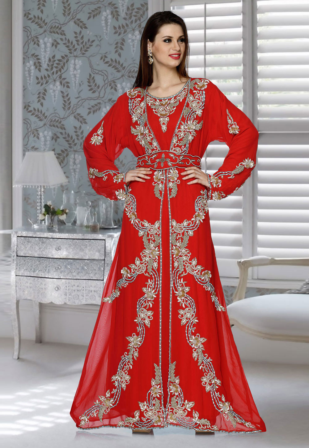 Red Faux Georgette Embroidered Readymade Kaftan 194887