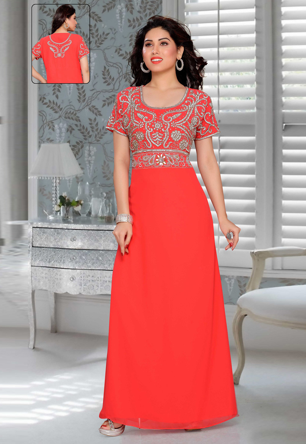 Red Faux Georgette Embroidered Readymade Fustan 194888