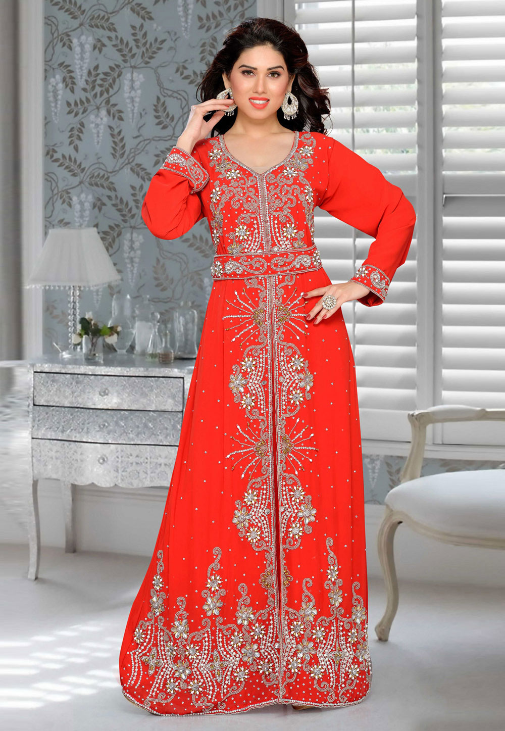 Red Faux Georgette Embroidered Readymade Kaftan 194891