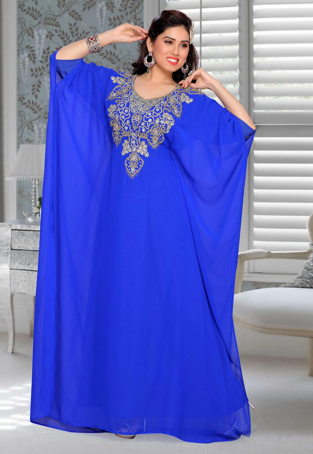 Blue Faux Georgette Embroidered Readymade Farasha 194892
