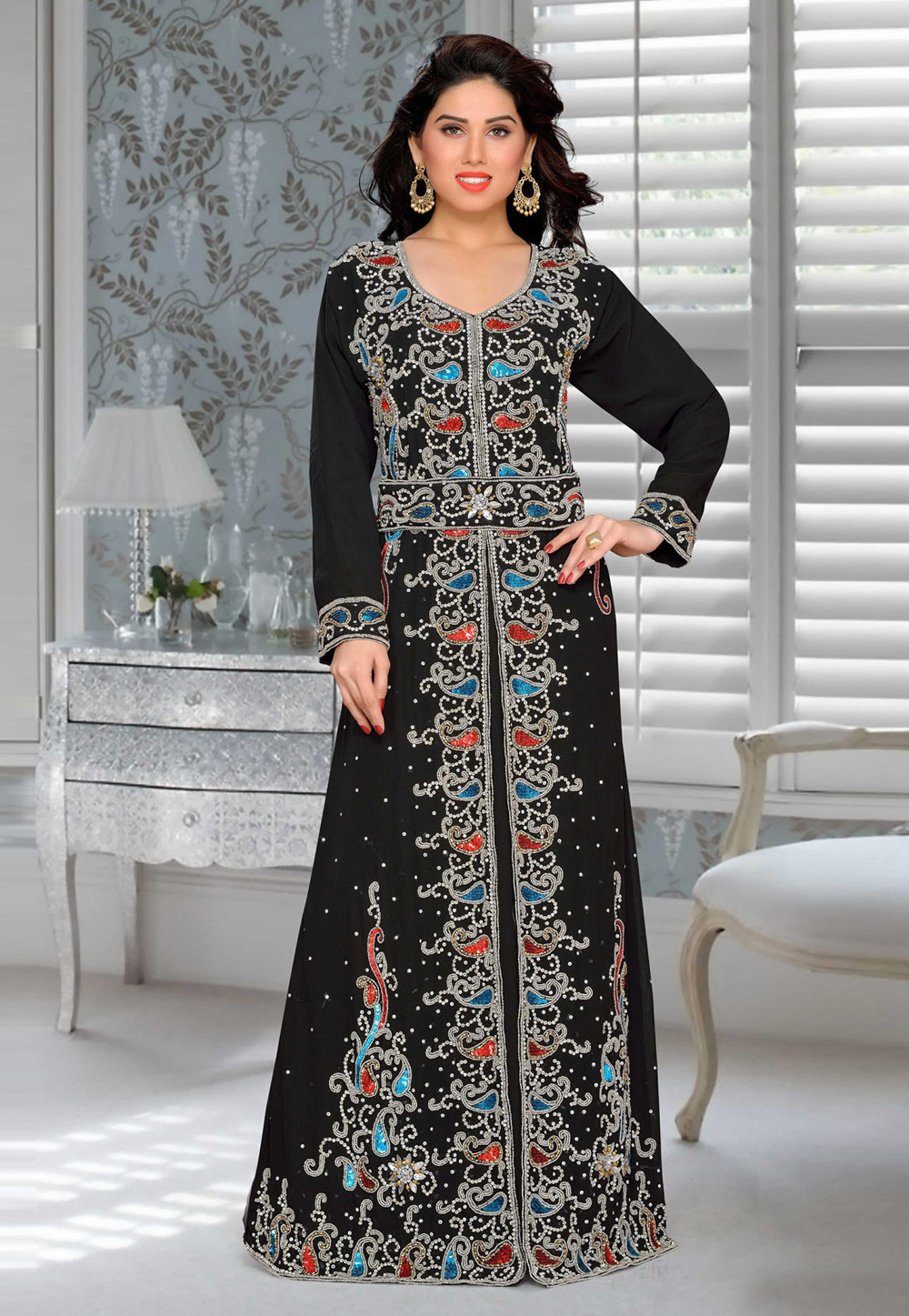 Black Faux Georgette Embroidered Readymade Kaftan 194893