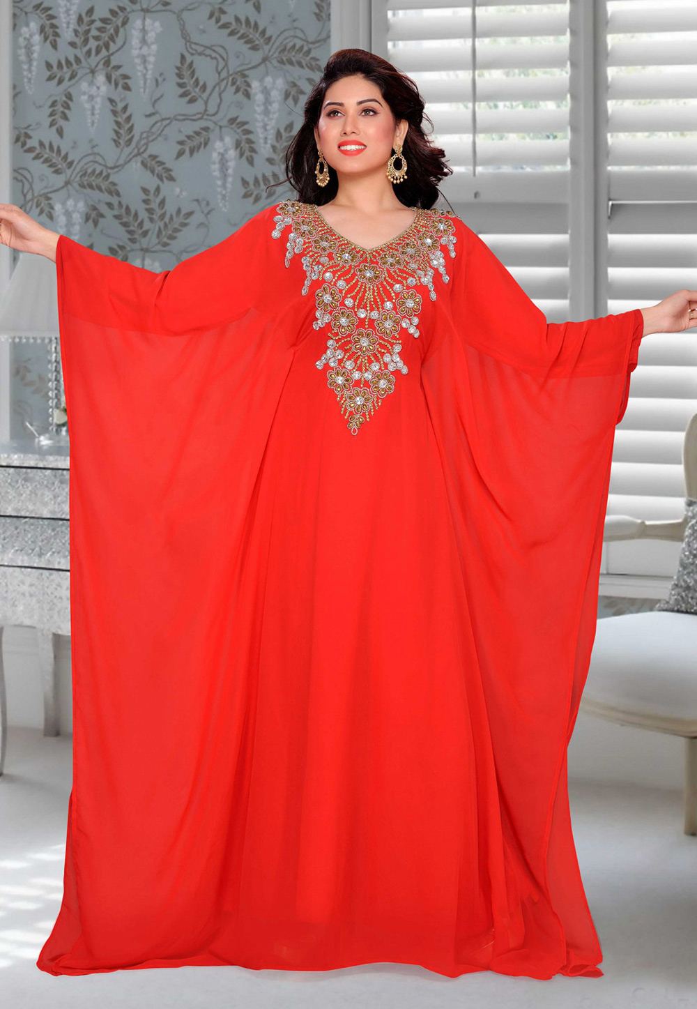 Red Faux Georgette Embroidered Readymade Farasha 194895