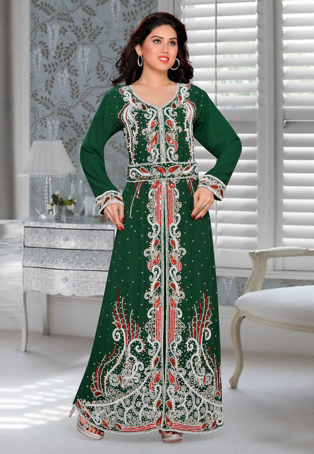 Green Faux Georgette Embroidered Readymade Kaftan 194901