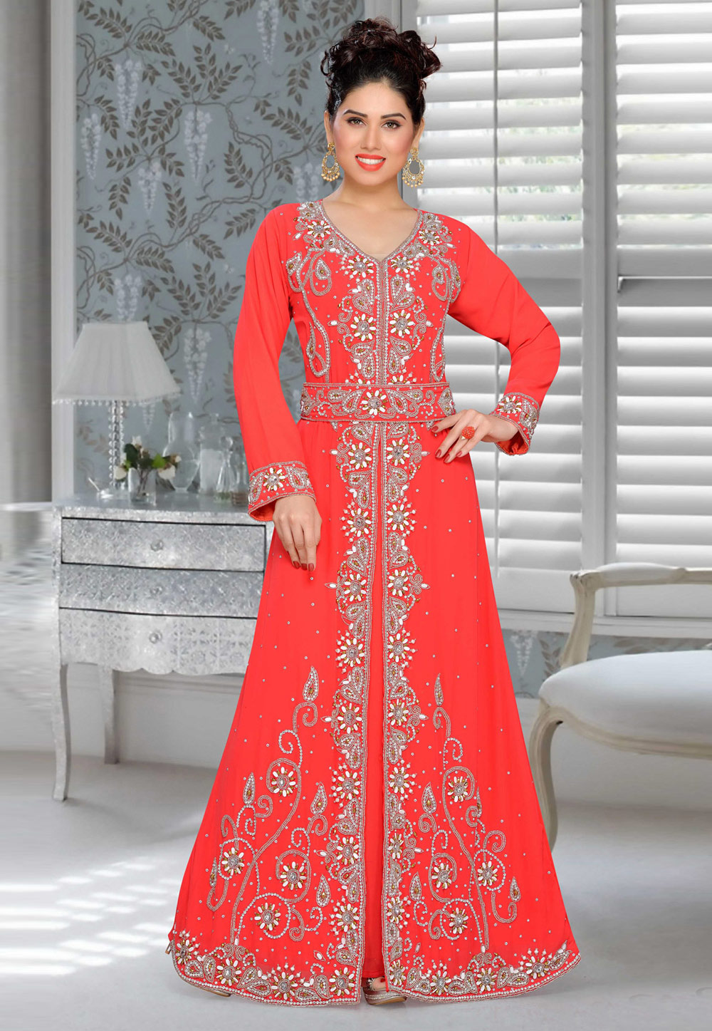 Red Faux Georgette Embroidered Readymade Kaftan 194904
