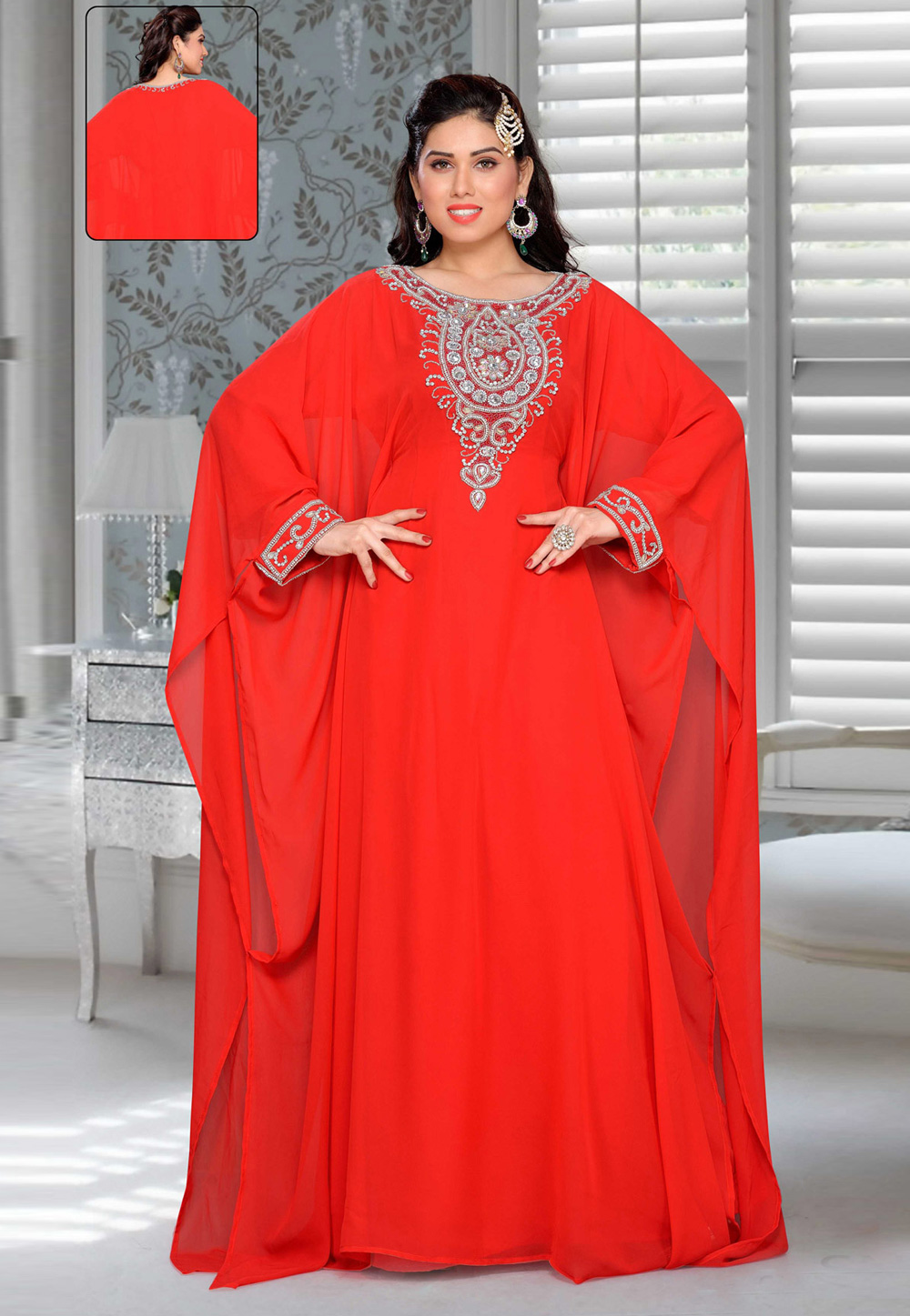 Red Faux Georgette Embroidered Readymade Farasha 194905