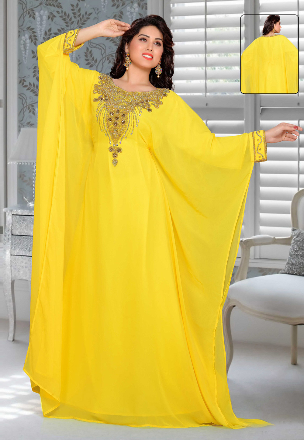 Yellow Faux Georgette Embroidered Readymade Farasha 194909