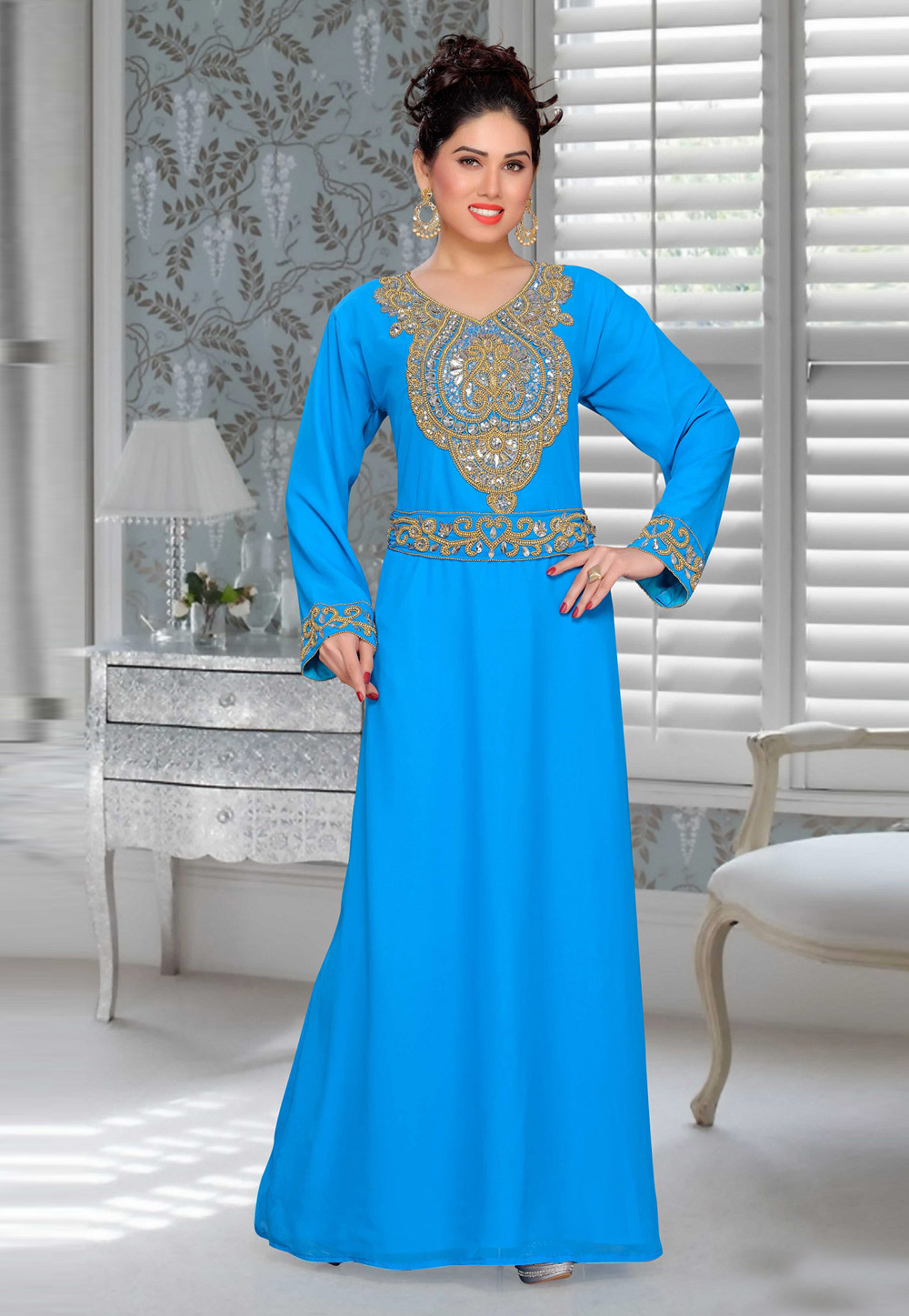 Blue Faux Georgette Embroidered Readymade Kaftan 194911