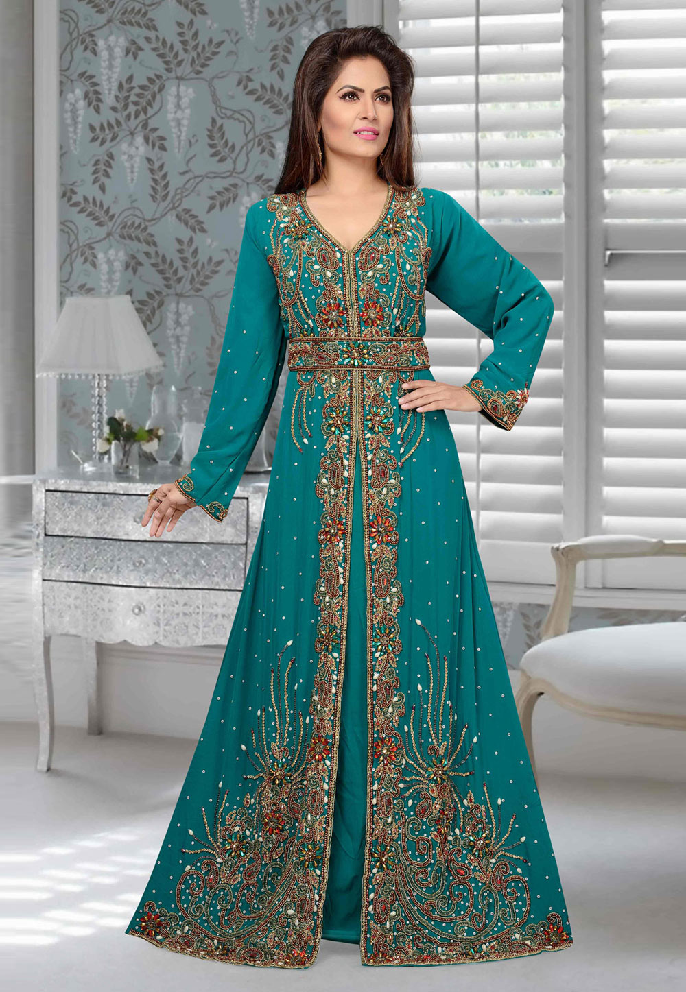 Turquoise Blue Faux Georgette Embroidered Readymade Kaftan 194915