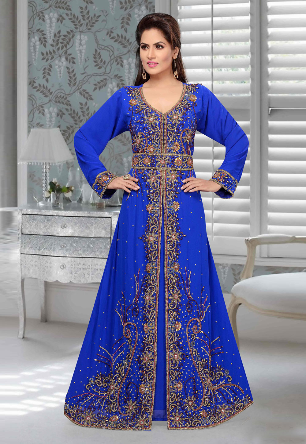 Blue Faux Georgette Embroidered Readymade Kaftan 194916