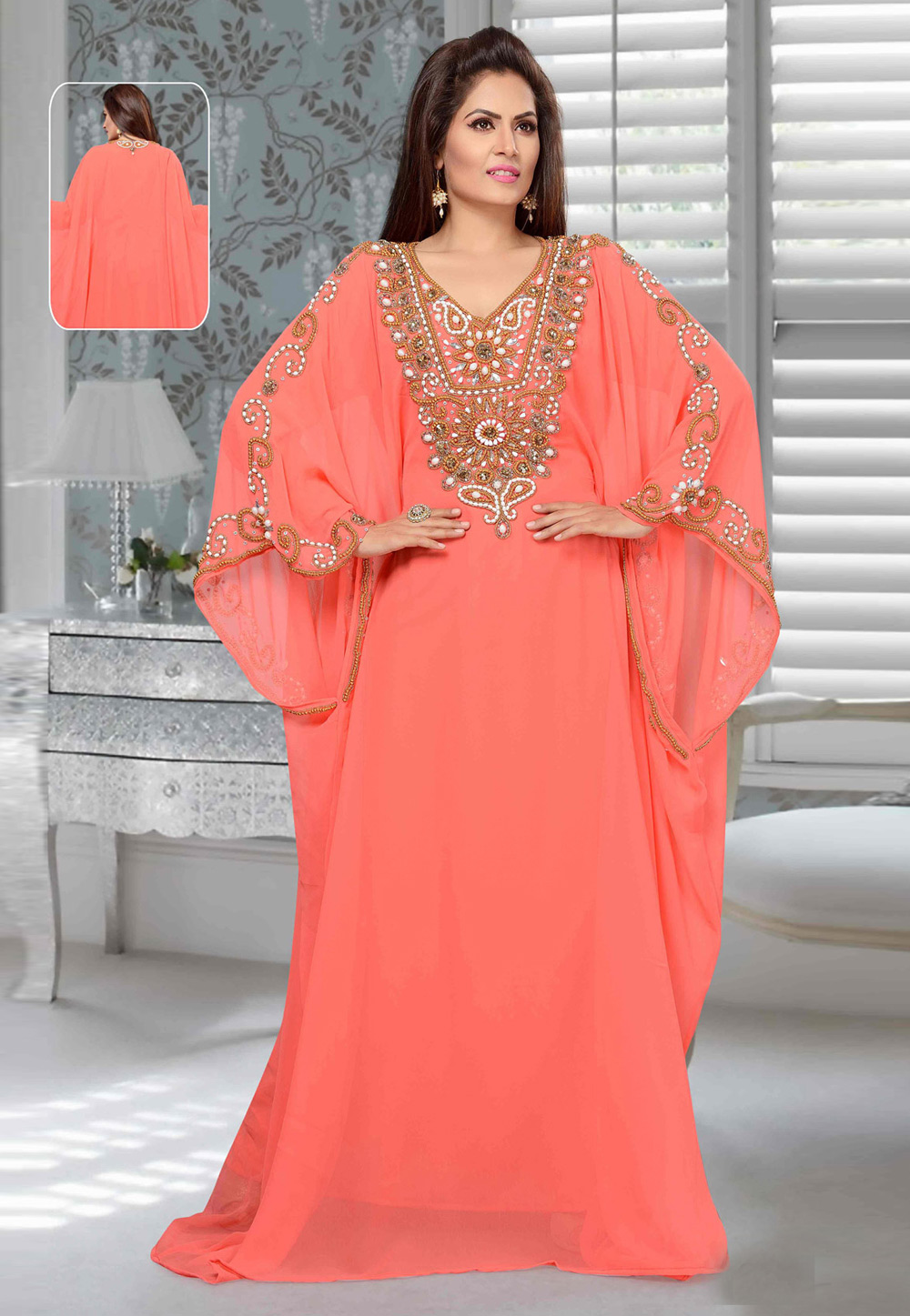 Peach Faux Georgette Embroidered Readymade Farasha 194922