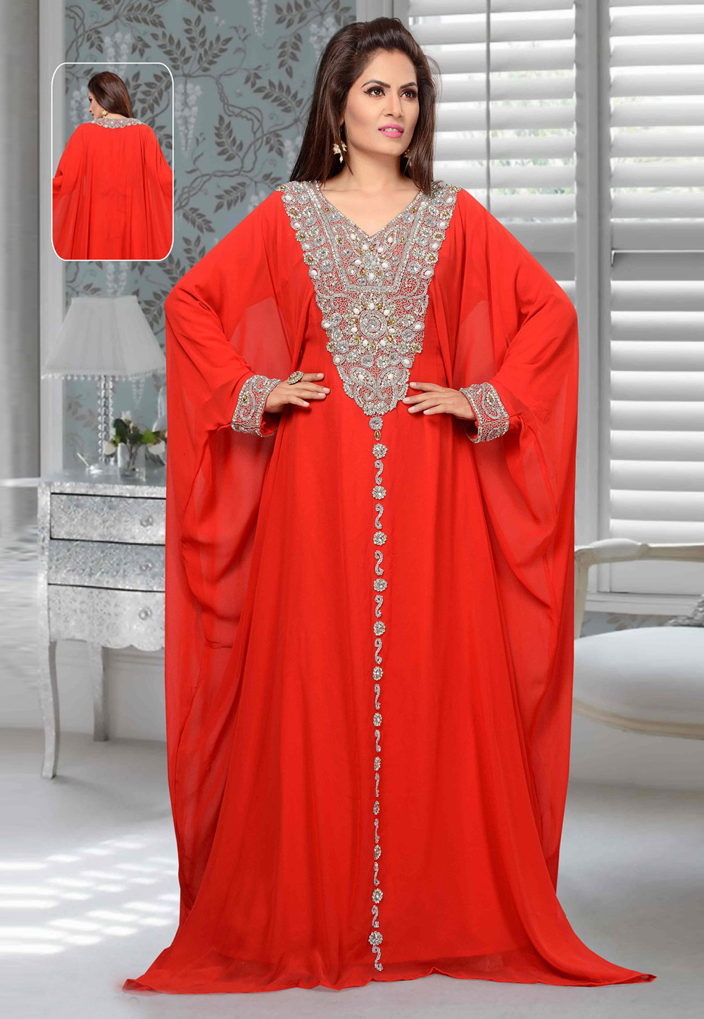 Red Faux Georgette Embroidered Readymade Farasha 194926