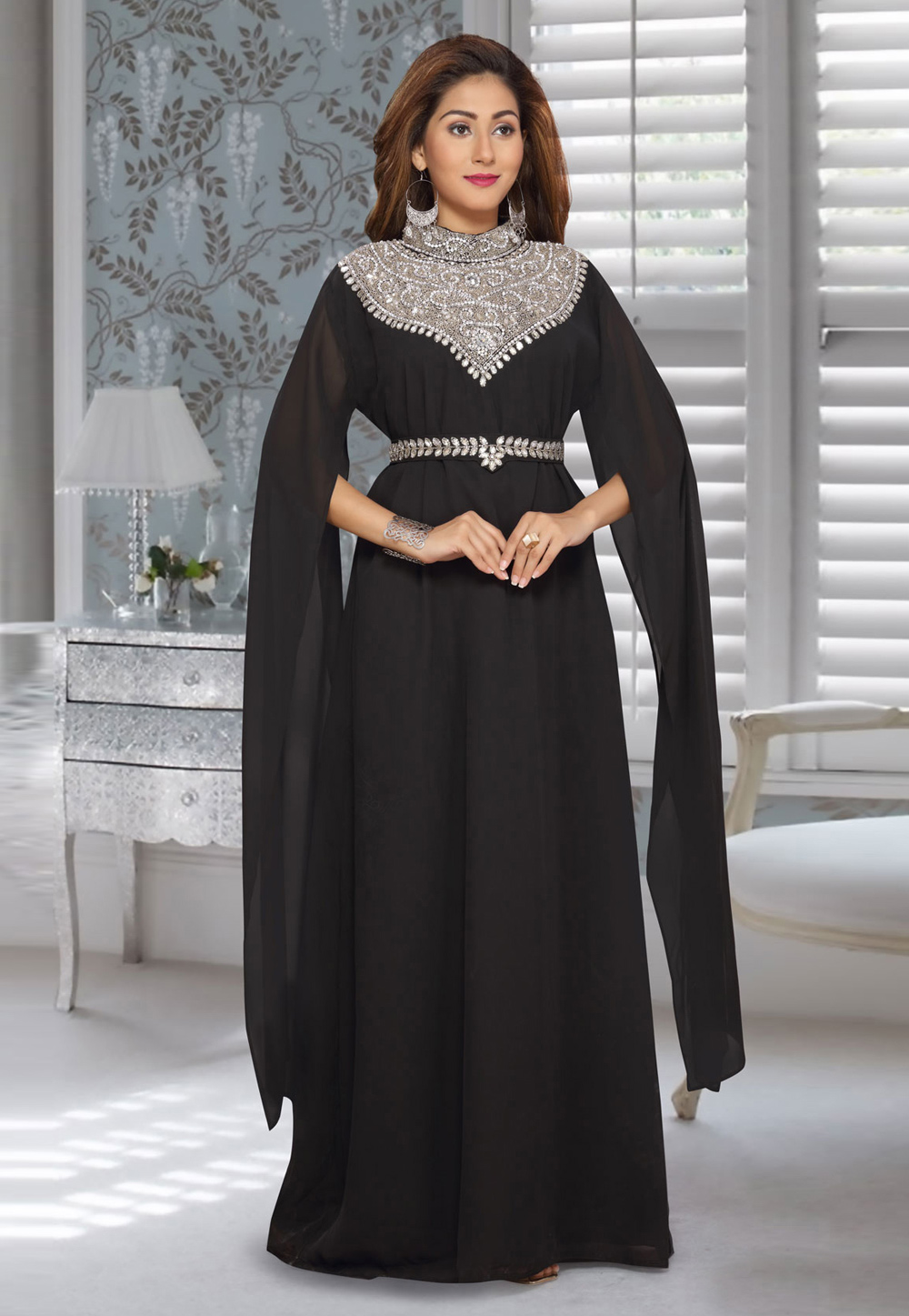 Black Faux Georgette Embroidered Readymade Kaftan 194933