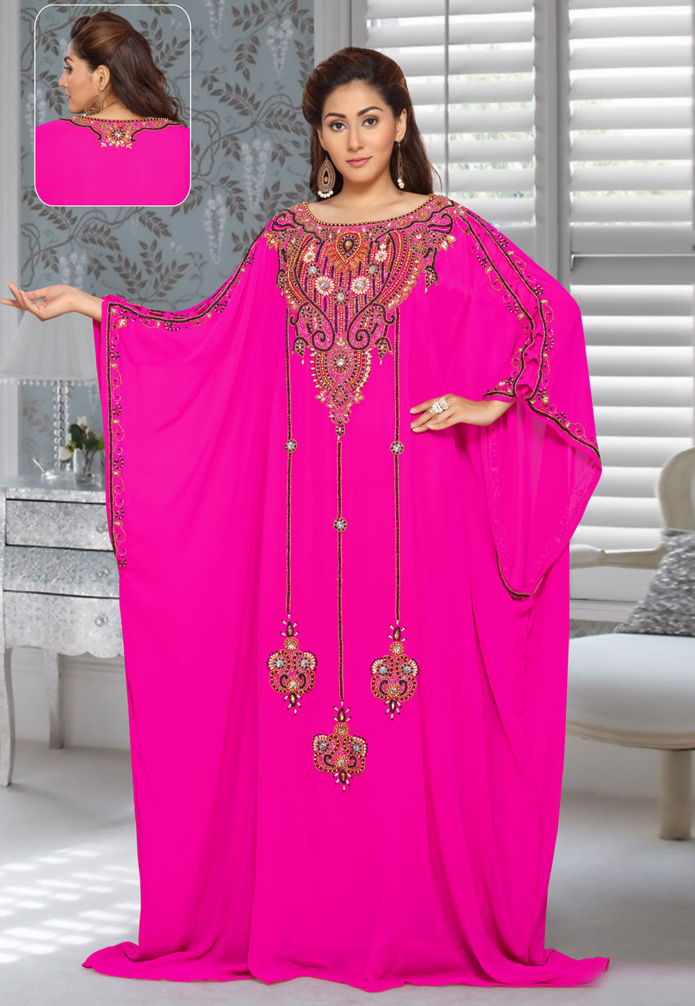 Magenta Faux Georgette Embroidered Readymade Farasha 194934
