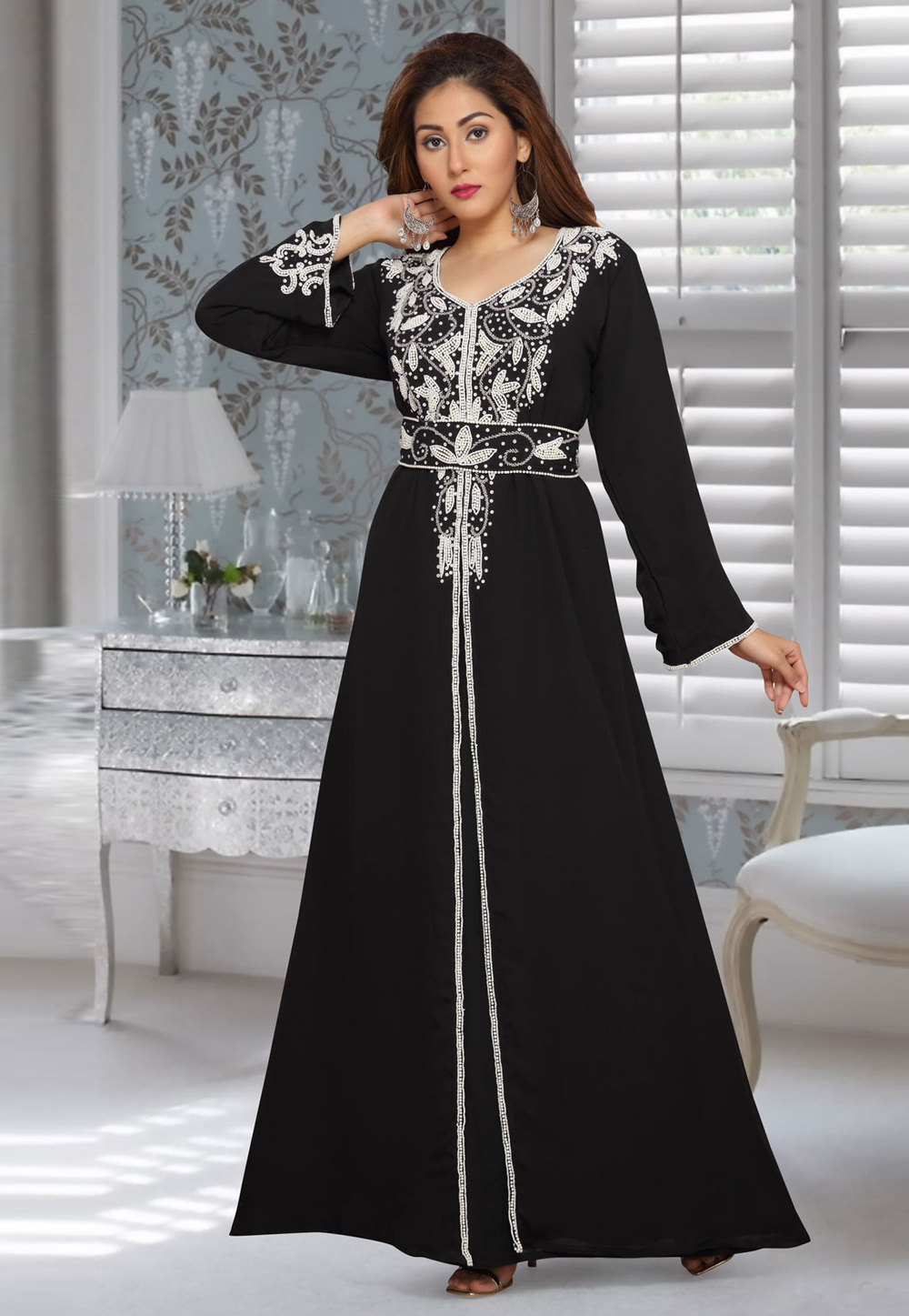 Black Faux Georgette Embroidered Readymade Kaftan 194939