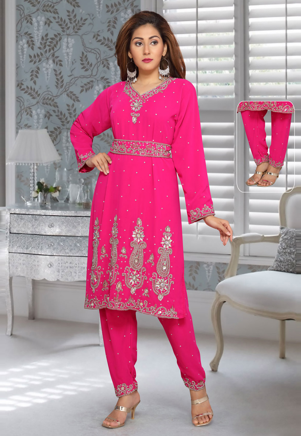 Magenta Faux Georgette Embroidered Readymade Islamic Kurti 194941
