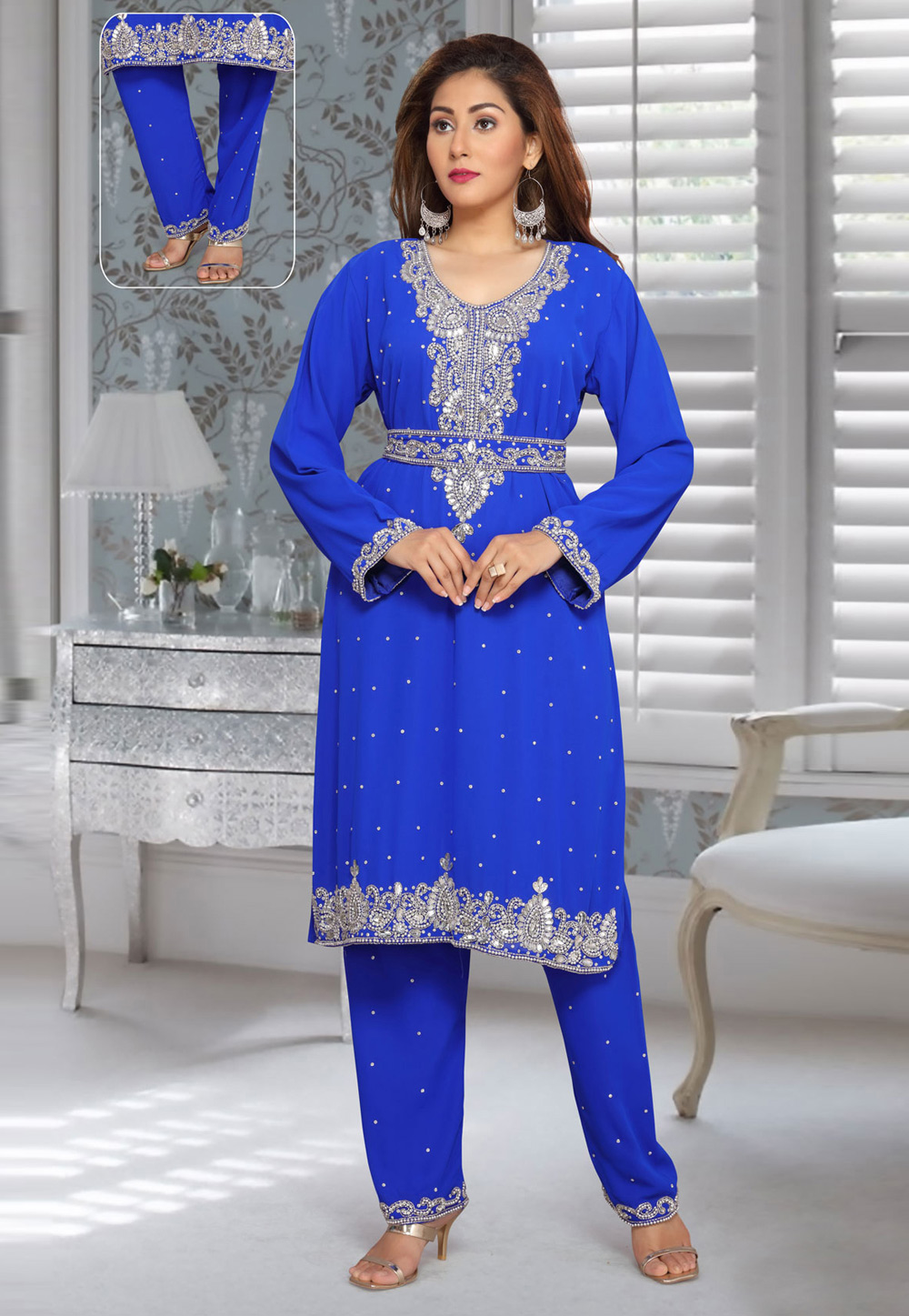 Blue Faux Georgette Embroidered Readymade Islamic Kurti 194945