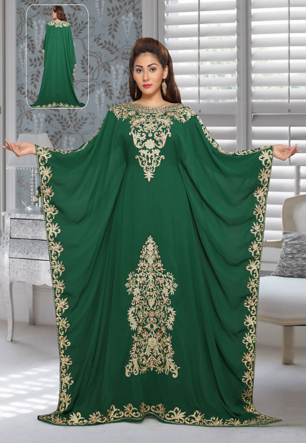Green Faux Georgette Embroidered Readymade Farasha 194946