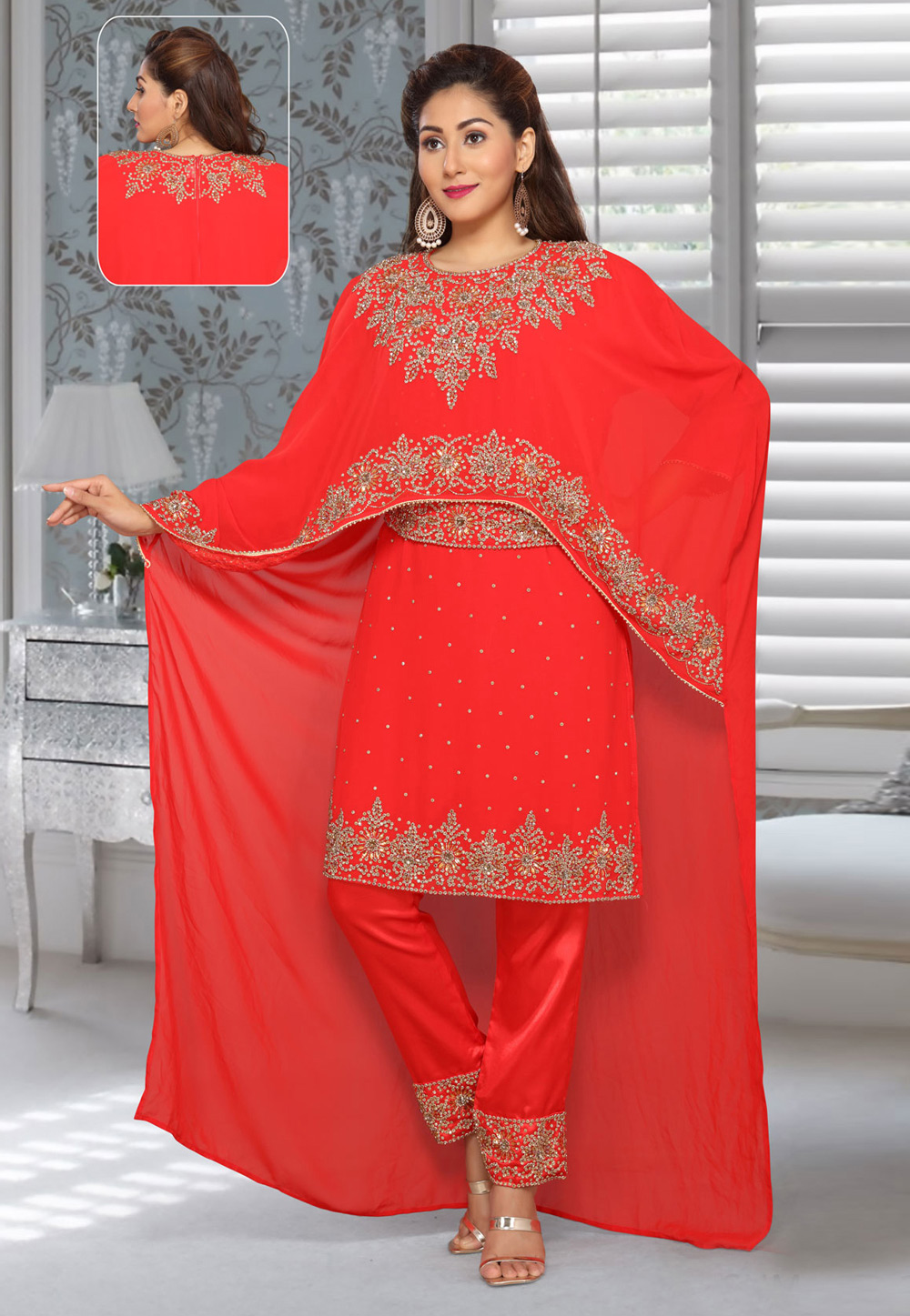 Red Faux Georgette Embroidered Readymade Islamic Kurti 194947