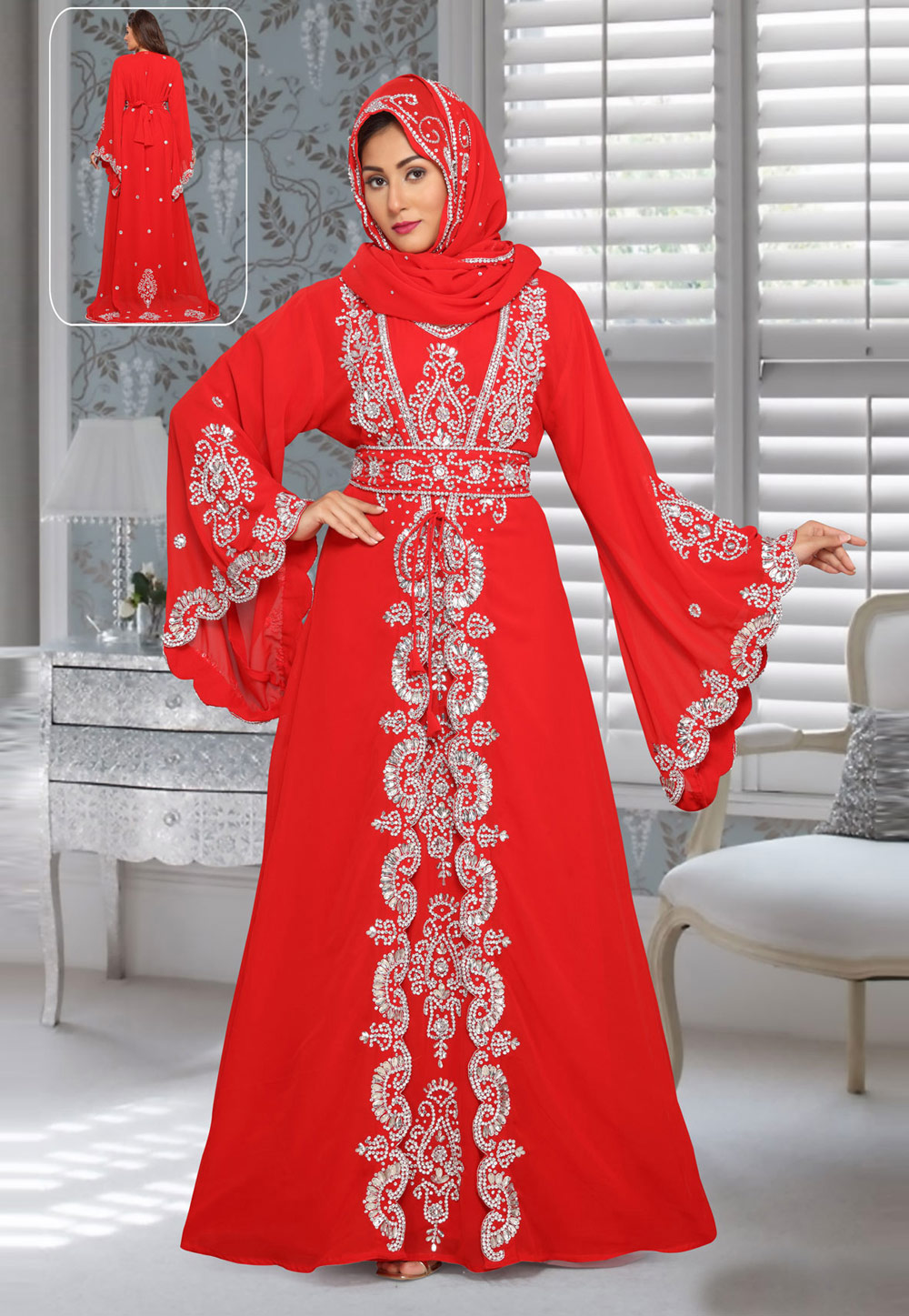 Red Faux Georgette Embroidered Readymade Kaftan 194950