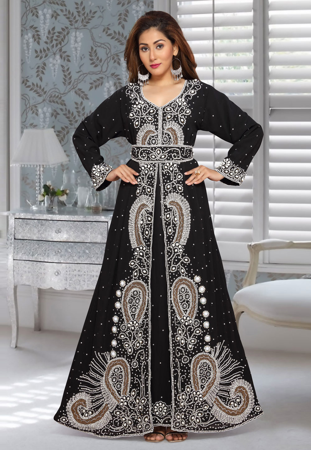 Black Faux Georgette Embroidered Readymade Kaftan 194951