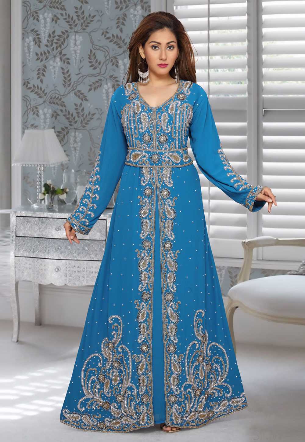 Blue Faux Georgette Embroidered Readymade Kaftan 194952
