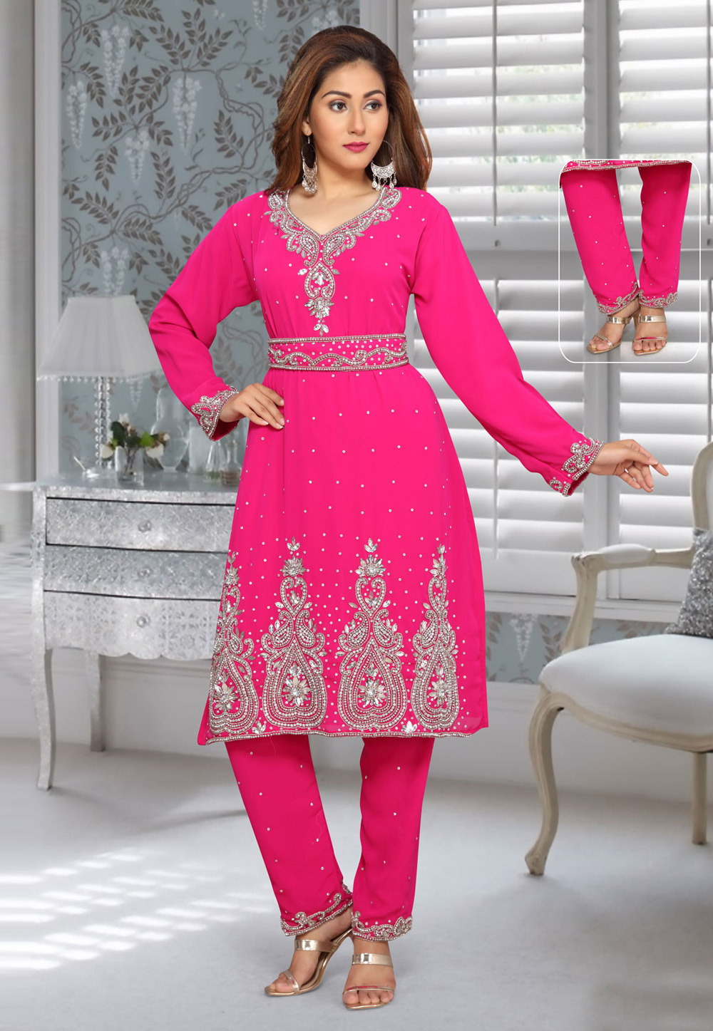 Magenta Faux Georgette Embroidered Readymade Islamic Kurti 194953