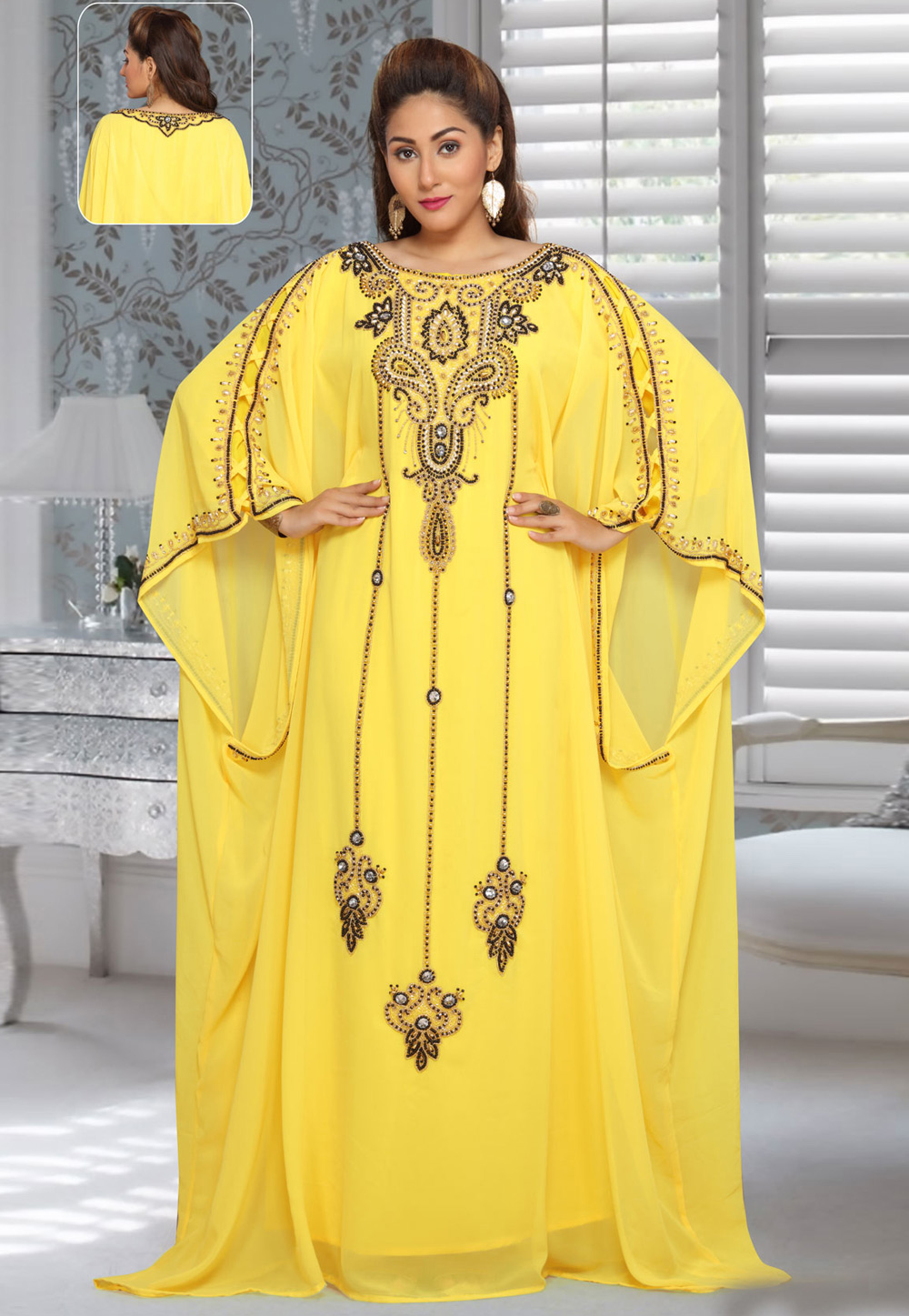 Yellow Faux Georgette Embroidered Readymade Farasha 194955