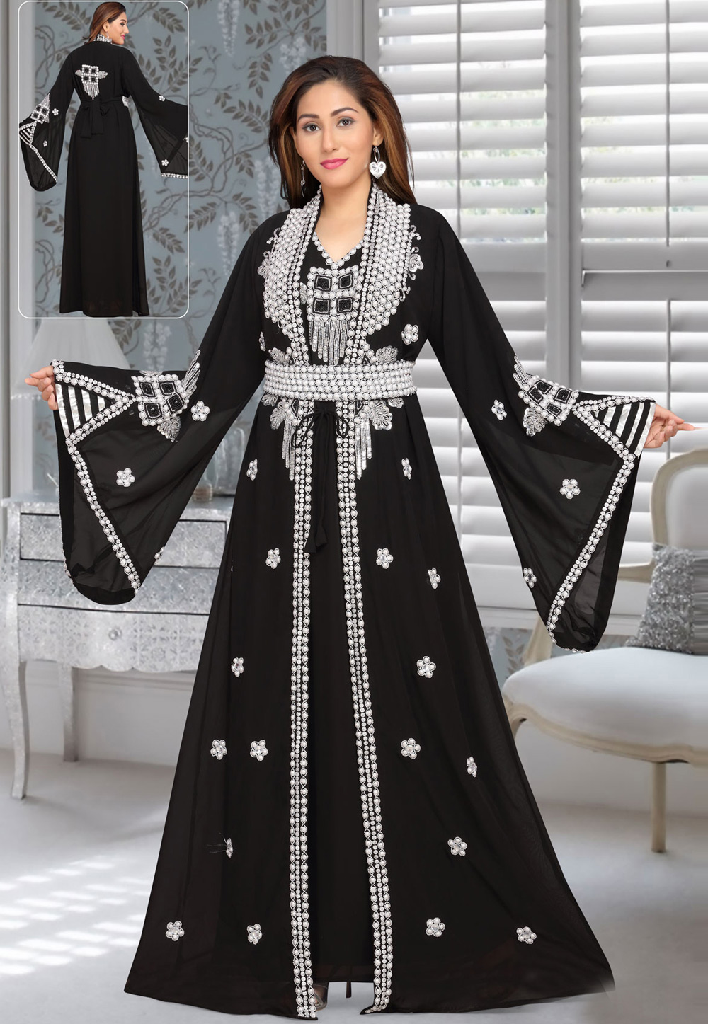 Black Faux Georgette Embroidered Readymade Kaftan 194957