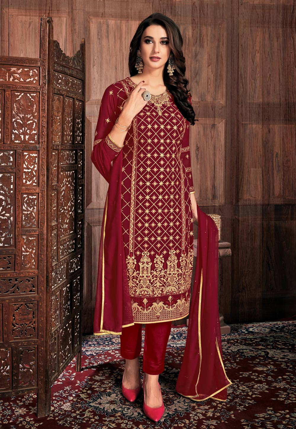 Red Georgette Pant Style Suit 190430