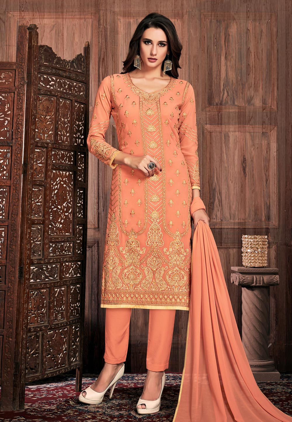 Peach Georgette Pakistani Style Suit 190431