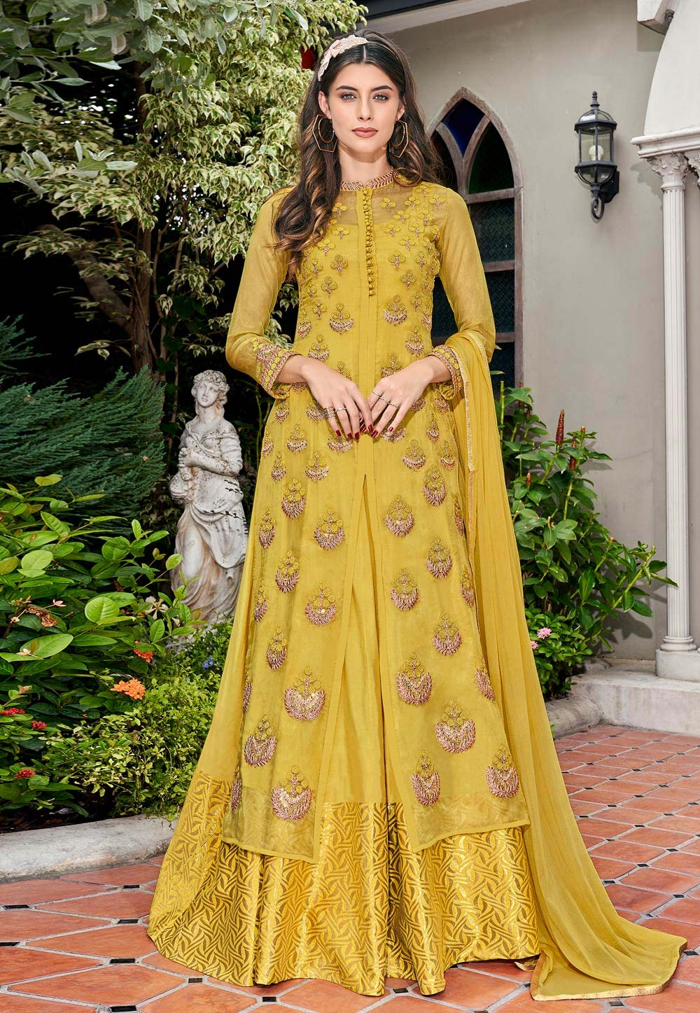 Yellow Tissue Long Anarkali Suit 197407