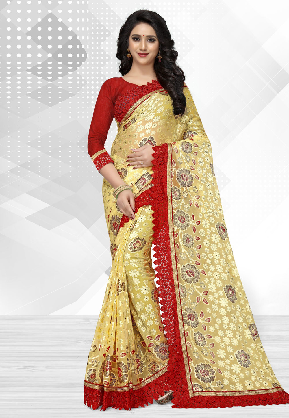 Light Yellow Brasso Saree With Blouse 162103