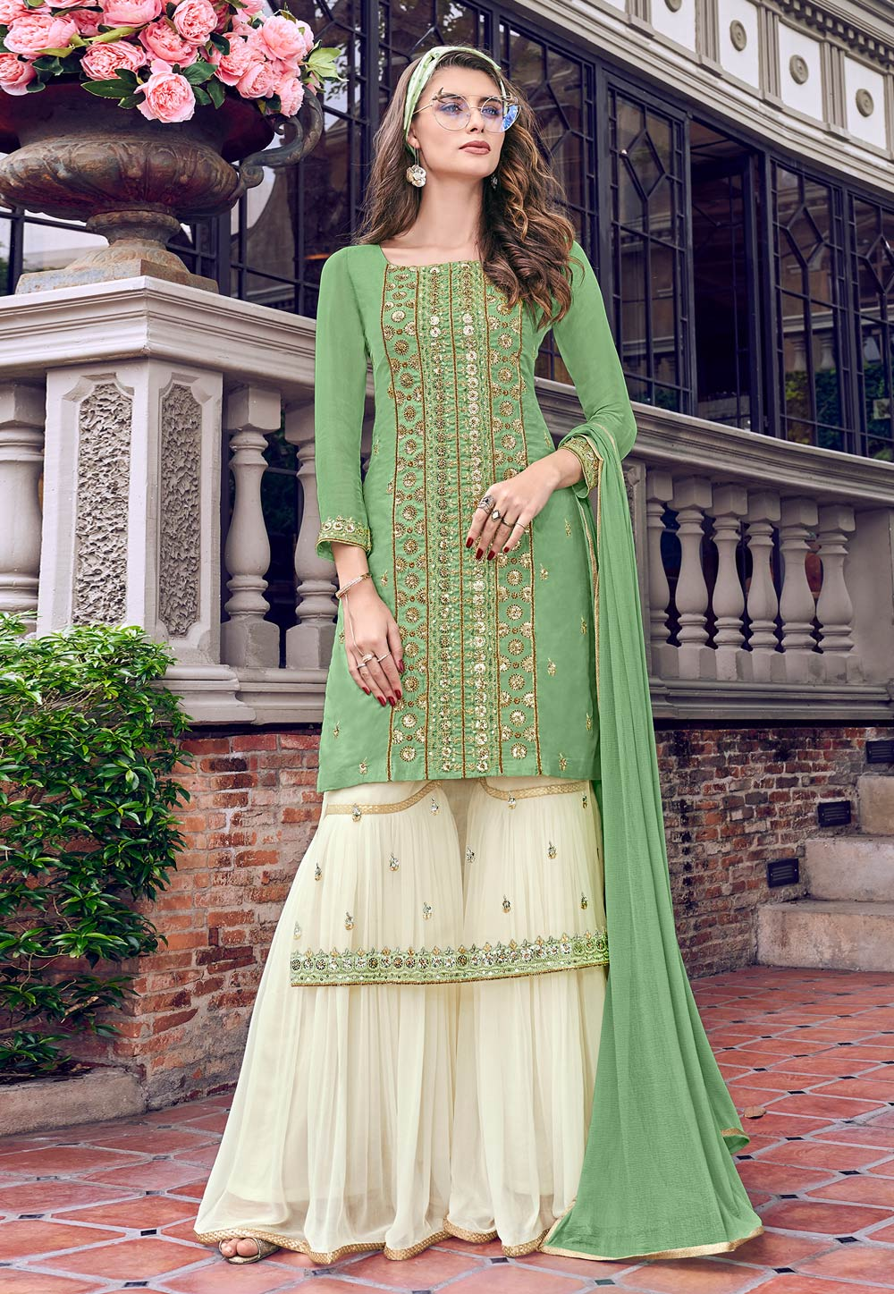 Green Tussar Embroidered Sharara Suit 197408