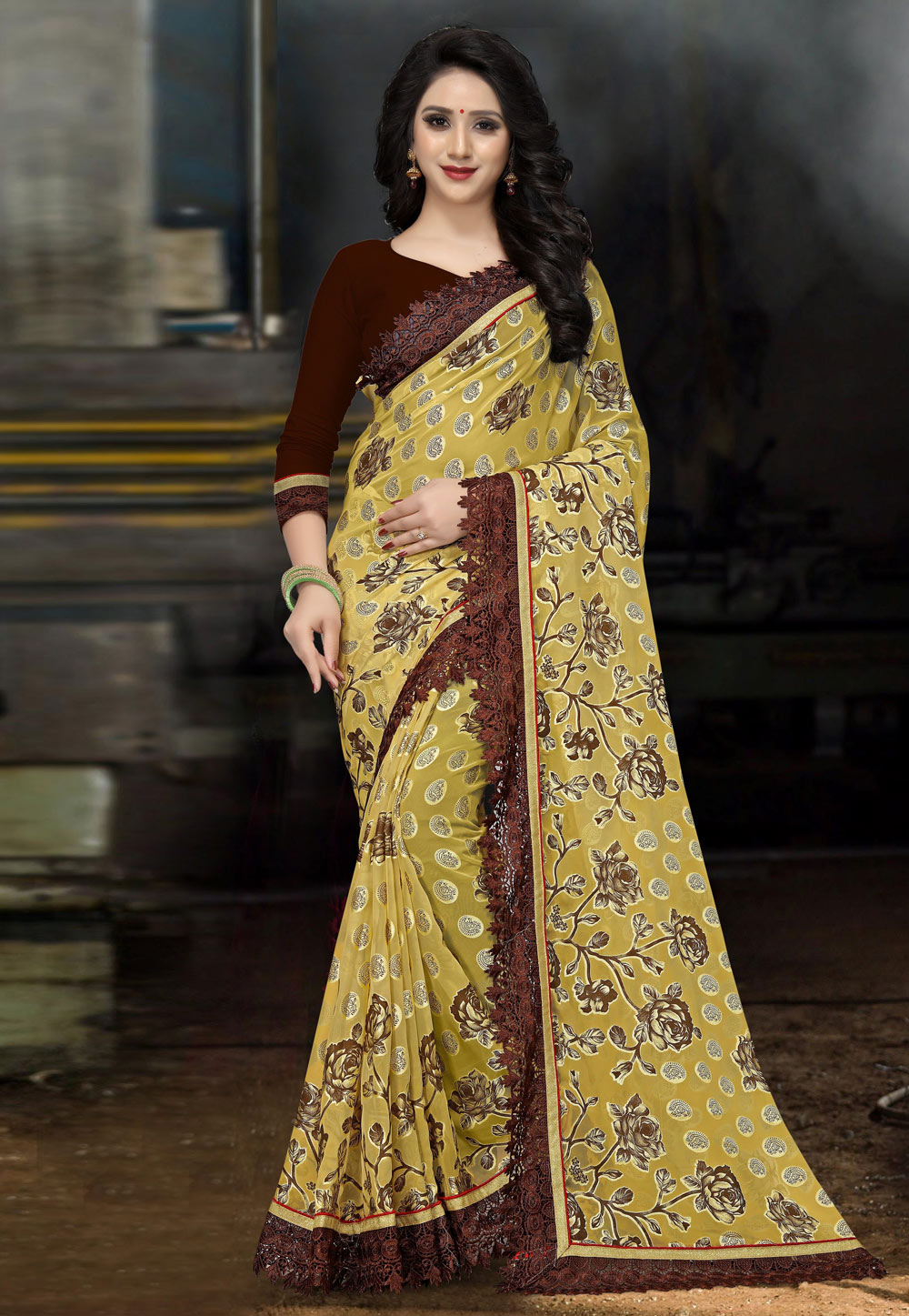 Yellow Brasso Saree With Blouse 162105