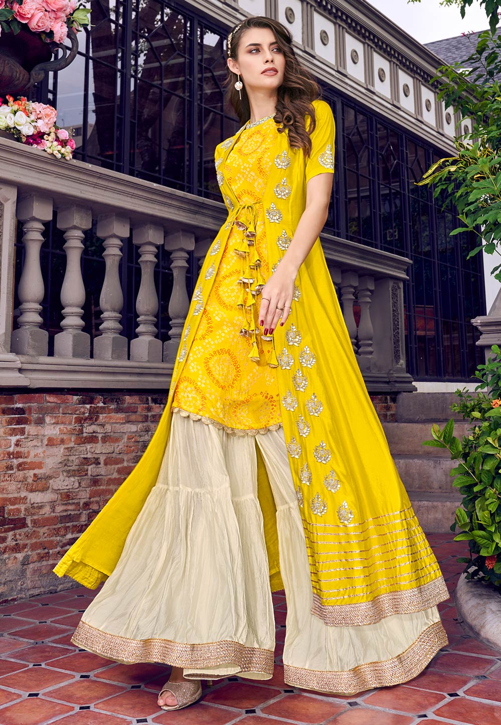 Yellow Tussar Sharara Suit With Jacket 197411